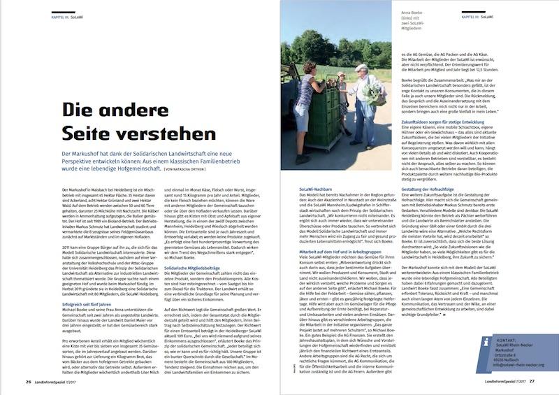 LandInForm Spezialausgabe, Bericht, Markushof